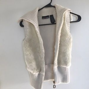 Cream colored vest with soft fur